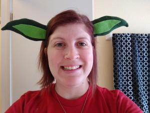 Yoda headband test fit - pardon the makeup